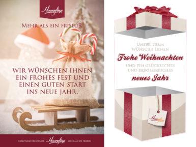 Weihnachtsplakat (links) und transparente Scheibenaufkleber mit Weiß-Druck & Konturschnitt (rechts)